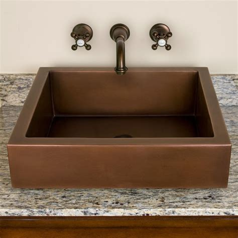 Recessed Sinks by Contemporary Semi Recessed Copper Sink Semi Recessed