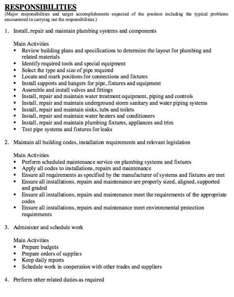 Plumbing Resume by Plumber Description Free Resume Sle