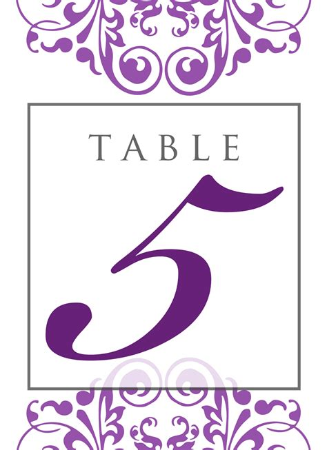 Signatures By Sarah All Inclusive Wedding Package For Jamie Table Number Template