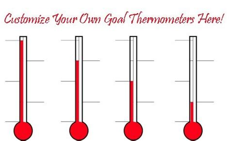 Goal Thermometers Sales Goal Thermometer Donation Thermometers Fundraiser Goal Thermometers Sales Thermometer Template