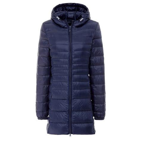 light packable down jacket women ultra light small packable hooded long soild coat