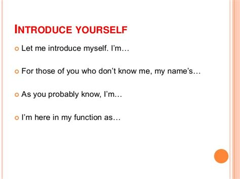 Making Introductions In Presentation Introduce Yourself Ppt