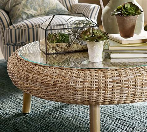 Woven Coffee Table Santa Woven Coffee Table Pottery Barn