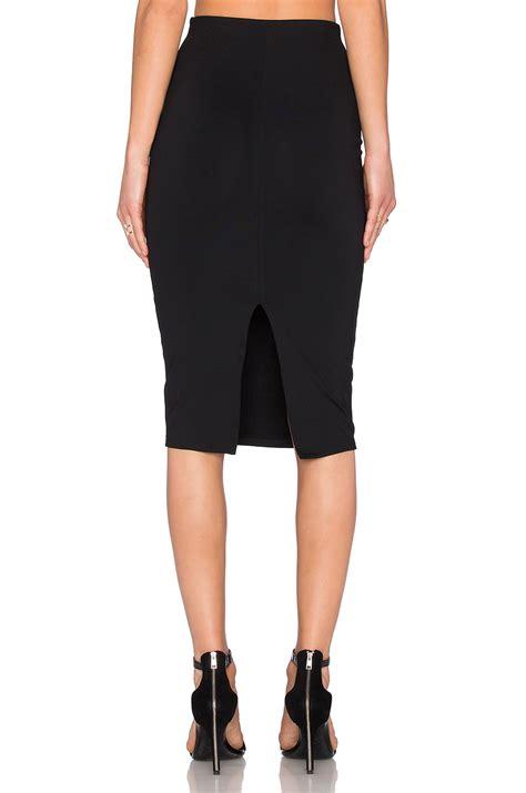 donna mizani back slit midi skirt in black lyst