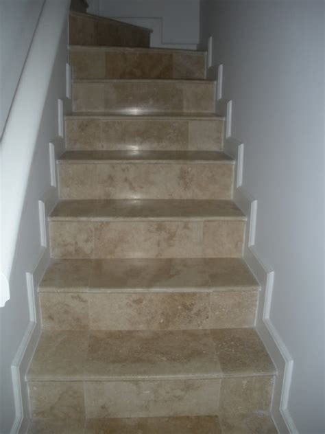 Travertine Tile Steps Contemporary Staircase Other Tiles For Staircase