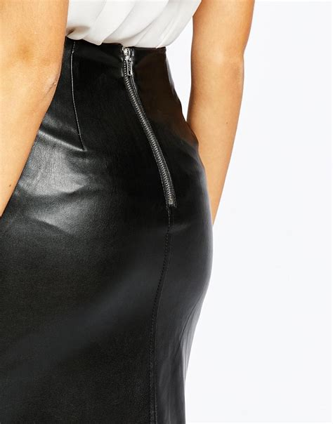 warehouse faux leather pencil skirt black in black lyst