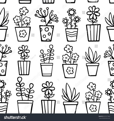 color pattern for house doodle house plants vector seamless pattern stock vector