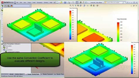 solidworks tutorial heat transfer solidworks simulation heat transfer coefficient youtube