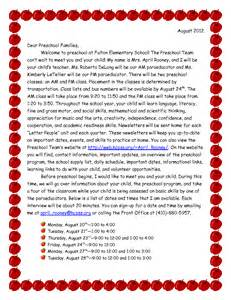 Parent Welcome Letter From Preschool Best Photos Of Preschool Introduction Letter To