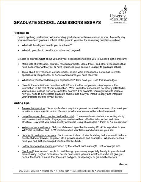 Personal Statement For Graduate School Sle Essays graduate school admission essay sles 28 images