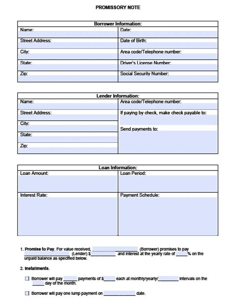 blank promissory note template  images