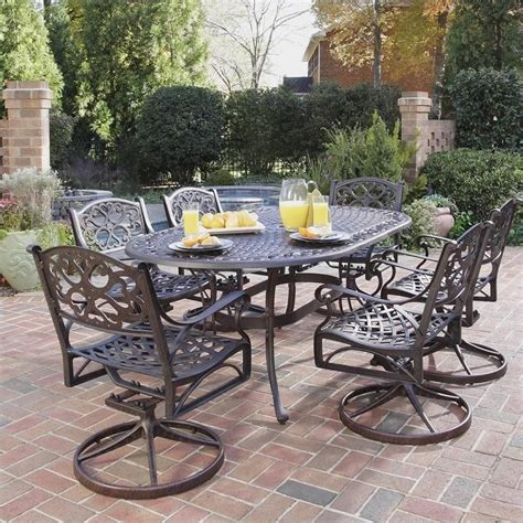 Outdoor Metal Patio Furniture 7 Metal Patio Dining Set In Bronze 5555 335