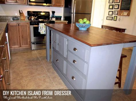 dresser kitchen island diy diy kitchen island from a dresser the good the bad and