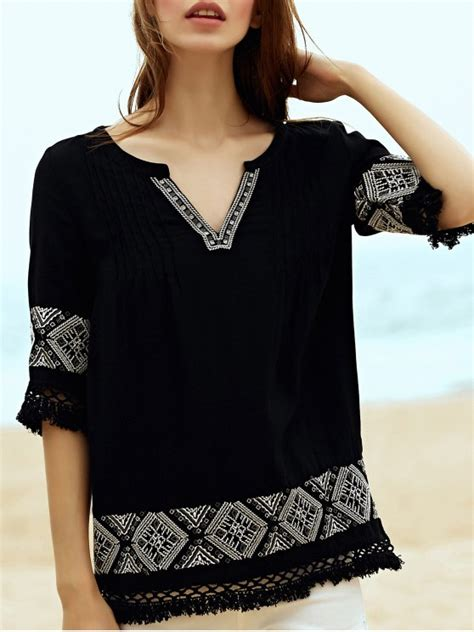3 4 Sleeve Embroidery Blouse embroidery v neck 3 4 sleeve blouse black blouses s zaful