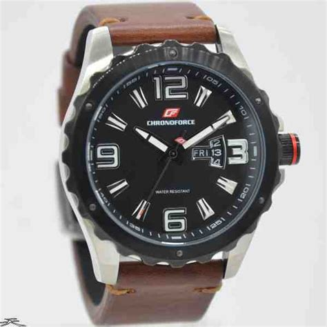 Jam Tangan Leather Brown Azb10115 1 jual jam tangan pria chronoforce 5235 3 silver black