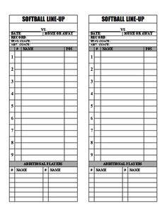 sle hockey score sheet free baseball lineup sheets printable printable softball