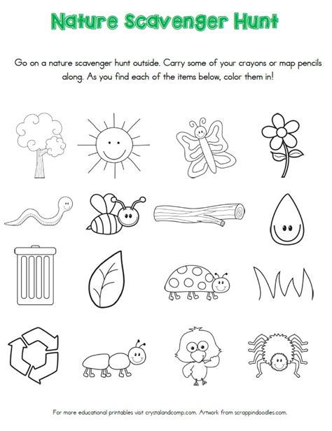 printable toddler scavenger hunt nature scavenger hunt