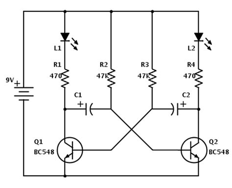 circuit diagram of astable multivibrator led running circuit astable multivibrator techie feeds