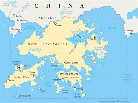 hong kong map guide   world