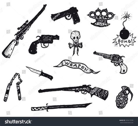 doodle sniper guns revolver weapons rifles set illustration stock vector