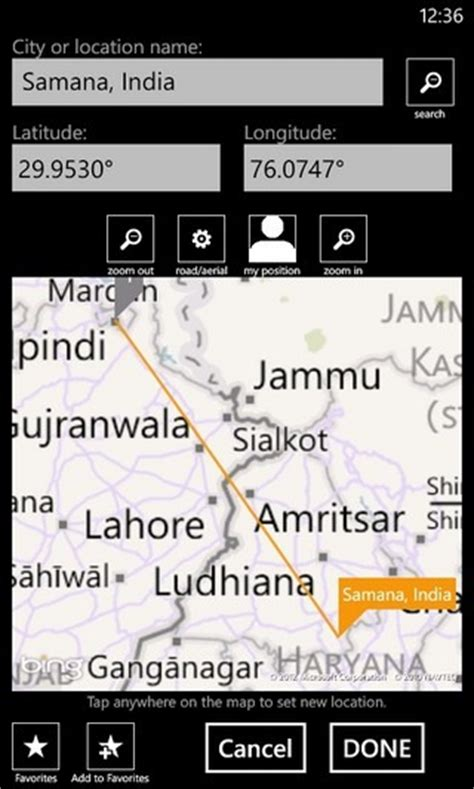 map distance calculator measure distance area coordinates of any location on wp7 gps calculator