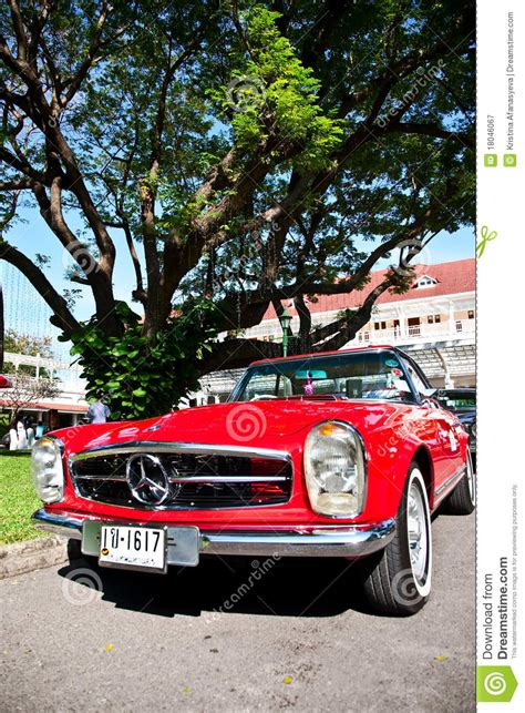 classic red mercedes red vintage mercedes retro car editorial photo