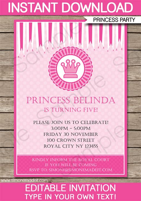 Princess Party Invitations Template Birthday Party Birthday Invitation Editable Templates