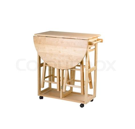 folding and movable wooden table with stools for small