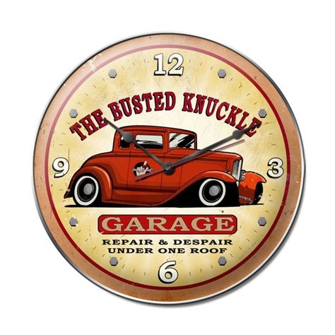 The Busted Knuckle Garage by Busted Knuckle Garage Vintage Metal Sign Clock