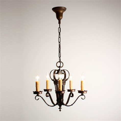 Delightful Lighting by Delightful Antique Five Light Iron Chandelier With