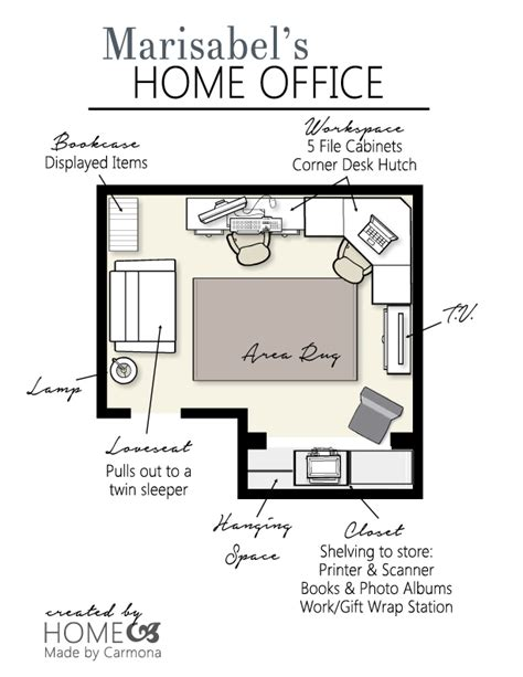 a design plan for an office home made by carmona