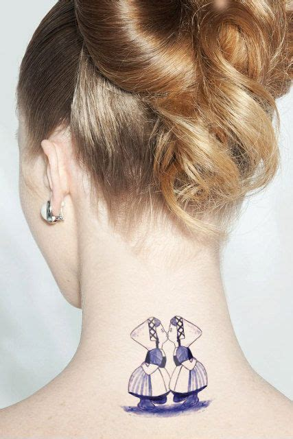 lesbian couple tattoos temporary with in delfts blauw