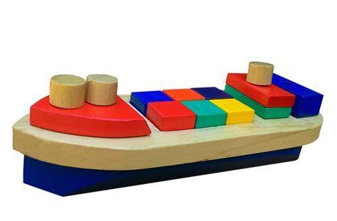 Balok Kereta Geometri Alat Peraga Edukasi Mainan Kayu balok bangun perahu mainan kayu