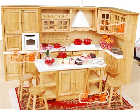 childrens wooden kitchen furniture g05 x4307 children baby gift 1 12 dollhouse mini furniture miniature rement wooden kitchen