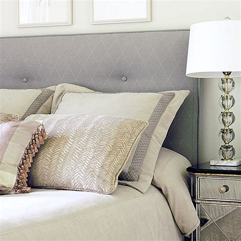 Custom Fabric Headboard Upholstered Fabric Headboard In Calming Grey Tones With Custom Pillows Traditional