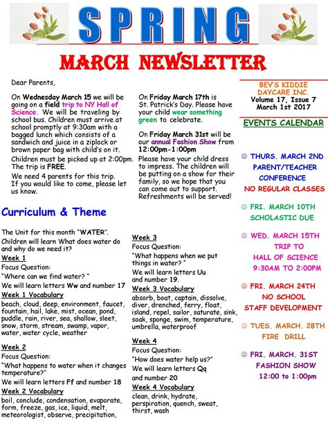 daycare newsletter new calendar template site