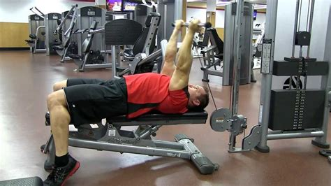 lying tricep cable extension flat bench lying overhead reverse grip cable tricep extension youtube