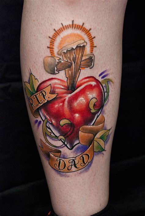 cross  red heart  dad banner tattoo  leg