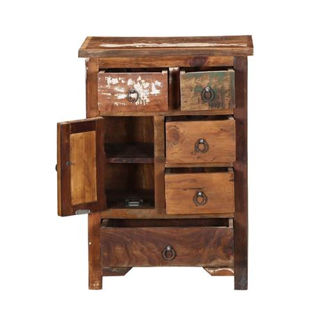 Nightstand Storage by Ebers Solid Wood 5 Drawer Apothecary Storage Nightstand