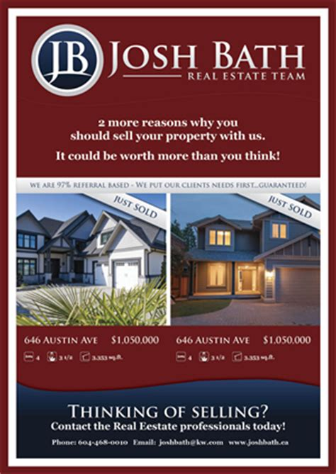 Upmarket Bold Flyer Design Design For Josh Bath A Company In Canada Page 2 Real Estate Just Sold Flyer Templates
