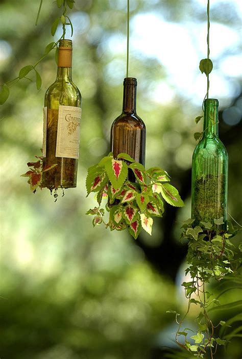 Recycled Wine Bottle Planter by Innovative Wine Bottle Hanging Planters