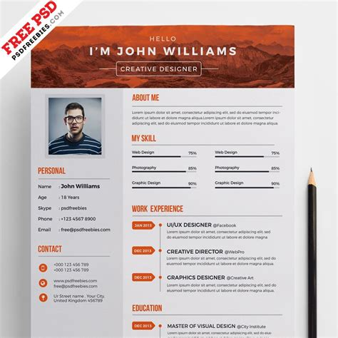 Creative Resume Cv Psd Template Cmyk Print Ready by Free Creative Resume Template Psd Psd