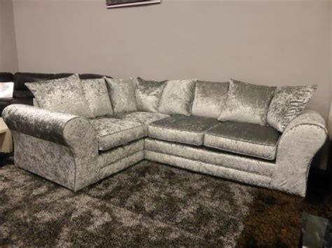 grey crushed velvet sofa bed boleyn high quality grey silver crushed velvet corner sofa