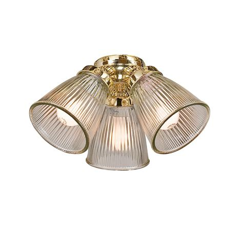Glass Light Shades For Ceiling Fans Shop Harbor 3 Light Polished Brass Ceiling Fan Light Kit With Bell Glass Or Shade At