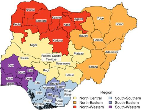 map of nigeria with states map of states color signifies geopolitical region