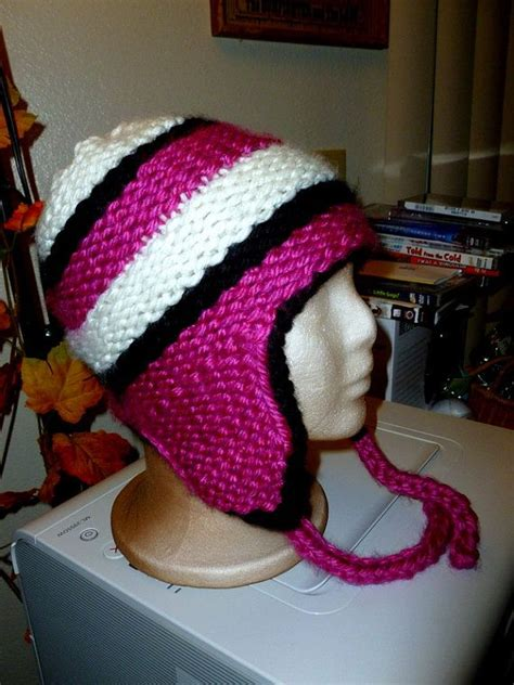 loom knit earflap hat loom knit striped ear flap hat pattern
