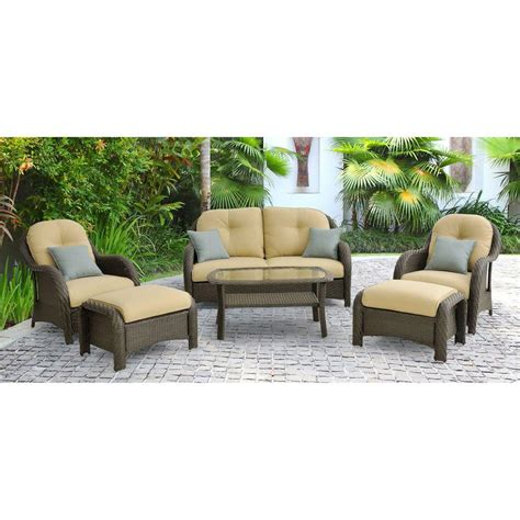 Hanover Newport 6 Piece Patio Lounge Set With Cream Home Depot Patio Furniture Sets