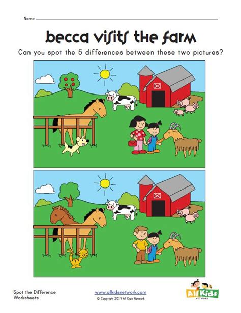 spot the different color spot the difference farm worksheet worksheets
