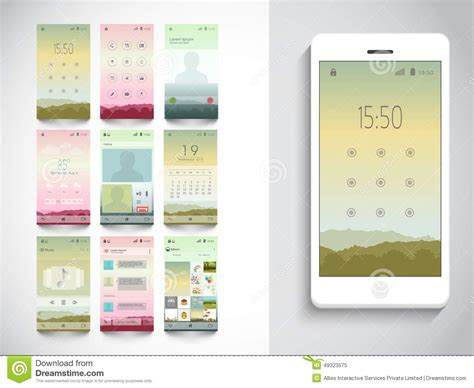 layout html mobile calendar icon in different style vector illustration