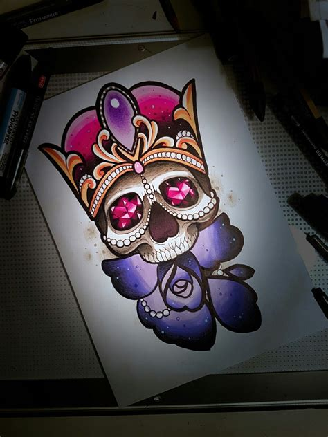 traditional diamond tattoo neo traditional design skull